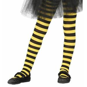 Girls-Bumble-Bee-Black-Tights-Yellow-Striped-Bumblebee-Insect-Kids-Fancy-Dress