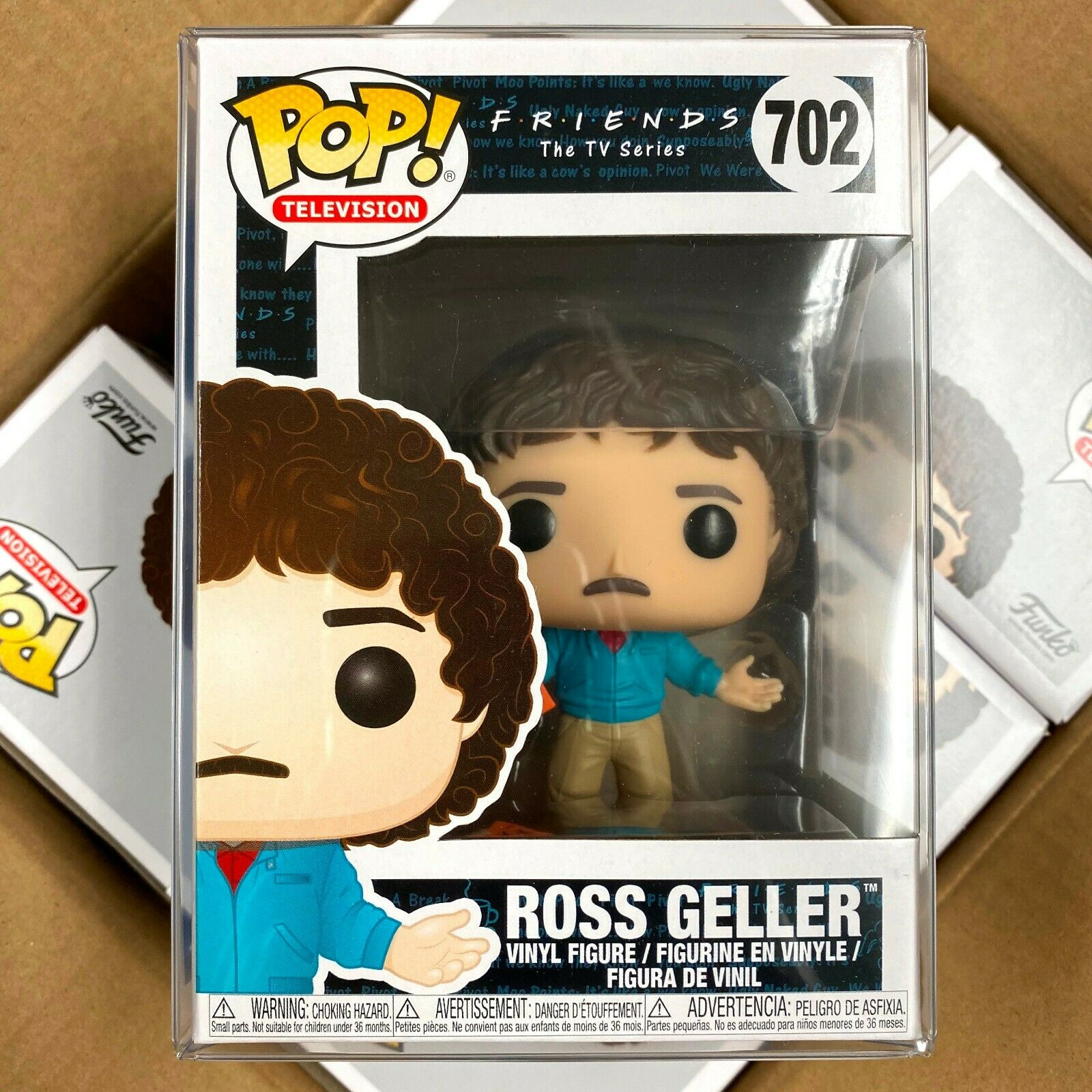 "Funko Pop Friends : ROSS GELLER #702 Vinyl w/Protector case ""Mint Box"""