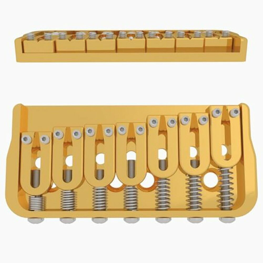 Hipshot 41070G 7-String Fixed Guitar Bridge, Right-Handed, 0.125  Height, Gold