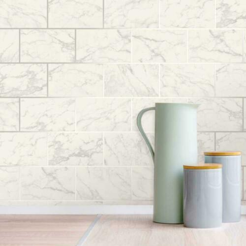 Crown 3D Effect Brick Tile Wallpaper White Grey Marble Silver Metallic Vinyl