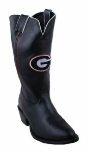 Nocona-7MDUG05403-Men-039-s-University-Georgia-Black-Cowhide-Branded-College-Boots