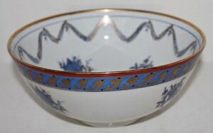Vintage-ISCO-Hand-Painted-BOWL-Ivory-w-Blue-amp-Gold-Garland-Flowers-Urns-10-034