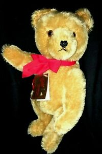 "New Vintage Hermann  Mohair Bear Growler jointed  13"" Closed doll shop Excellent"