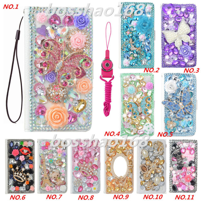 3D Luxury Leather Flip Bling Diamond Wallet Case Girls' Phone Cover with strap A