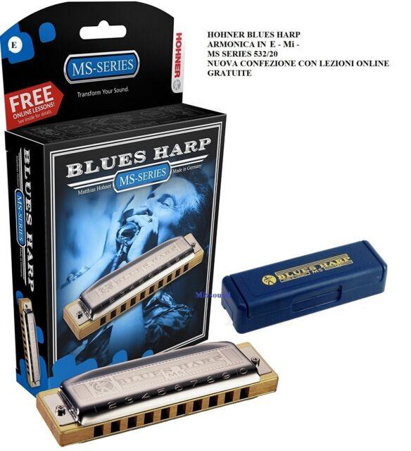 HOHNER BLUES HARP ARMONICA IN E MI MS SERIES 532/20 NUOVA CONFEZIONE CON LEZIONI