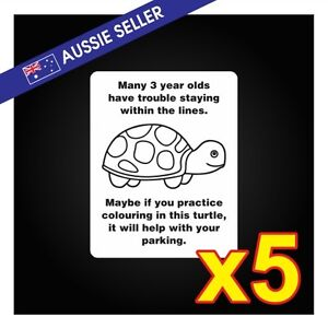 Funny-Turtle-Parking-Prank-Stickers-5-PACK-Car-Family-Window-Race-Drift-GT