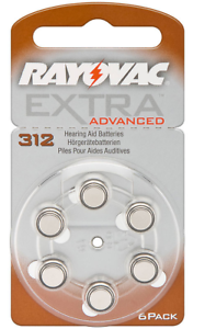 60x Rayovac Hörgerätebatterien Knopfzelle Extra Advanced ZA312 V312 312 AU AU312