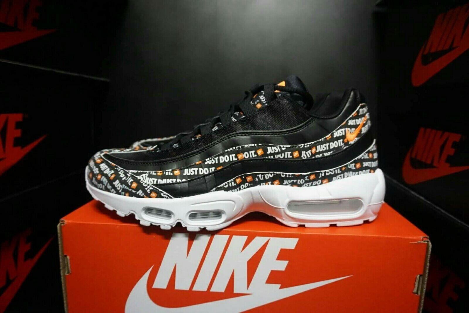 Nike Mens Air Max 95 Black orange Just Do It Pack JDI AV6246-001SZ  M12   W13.5