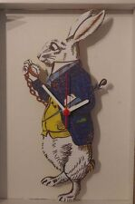 Alice in Wonderland Rabbit Holding Pocket Watch handmade Wooden clock made  UK