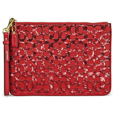 Coach Signature Flat Zip Red Leather Wristlet Case