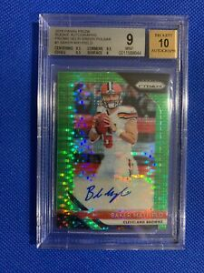 2018-Prizm-BAKER-MAYFIELD-Neon-Green-Pulsar-Rookie-RC-AUTO-BGS-9-10-Browns