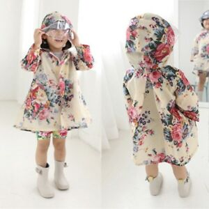 7b32a1938 Children's Girls Waterproof Floral Peony Print Hooded Outwear Poncho ...