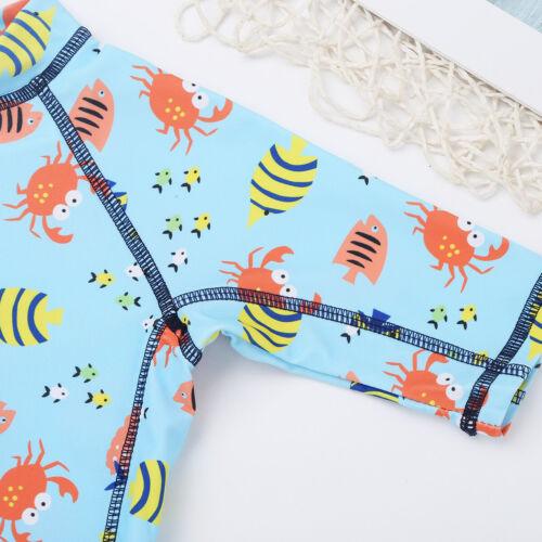 Toddler Kid Boys One-Piece Swimwear Cartoon Shark Rash Guard Swimsuit Swim Cap