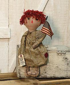 """Patriotic Liberty Raggedy Annie Doll Yarn Hair America Flag approx 21"""" T"""