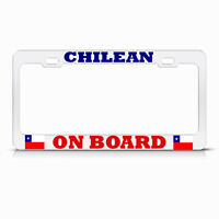 Chilean On Board Chile Flag White Metal License Plate Frame Auto Suv Tag Holder