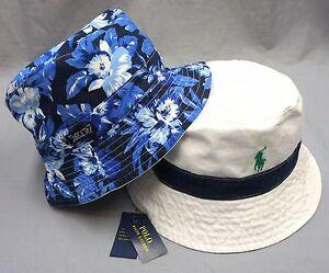 a0a9da463f0 NWT  55 POLO RALPH LAUREN REVERSIBLE BUCKET HAT CAP Mens Blue White ...