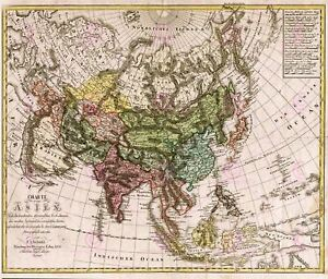 Map-Antique-Gussefeld-1805-Asia-Old-Historic-Large-Replica-Canvas-Art-Print