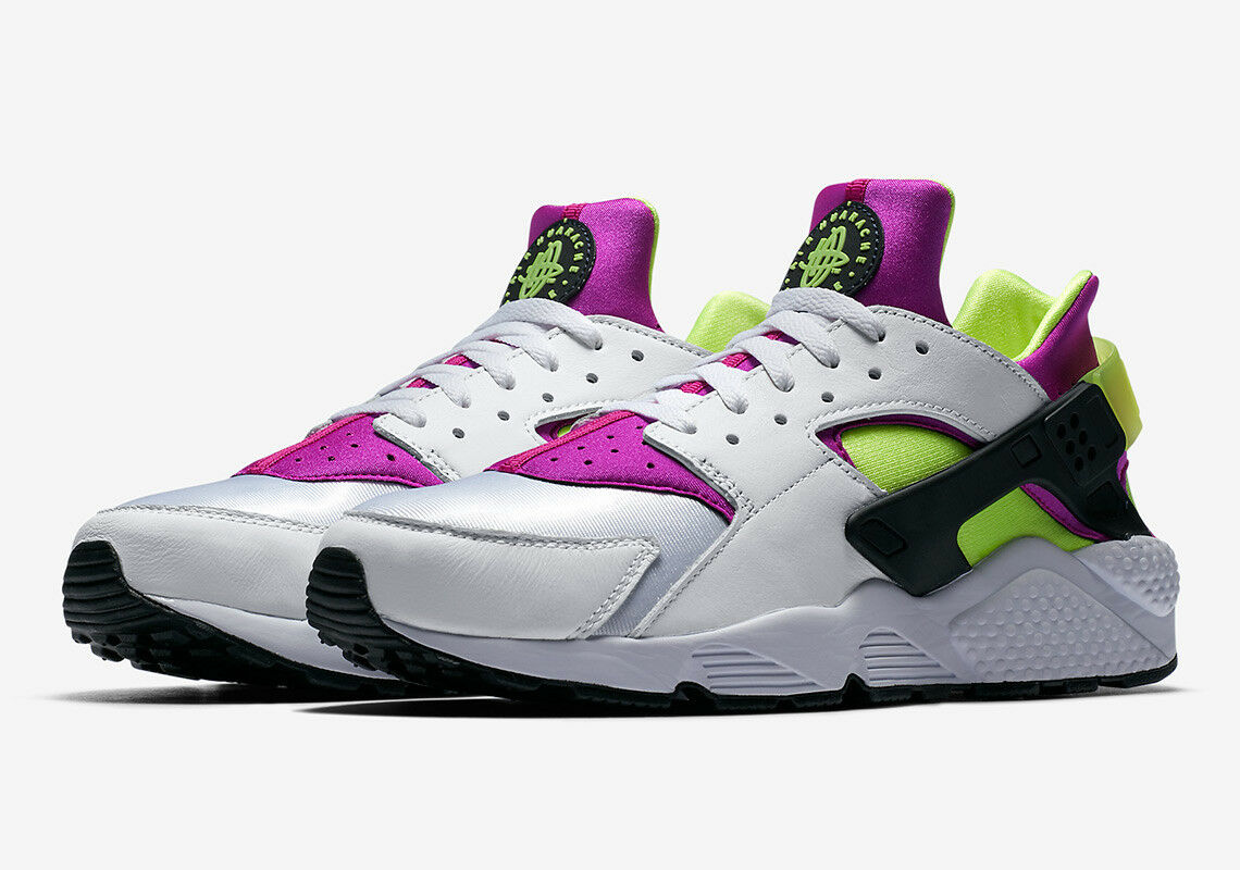 2018 Nike Air Huarache Run 91 OG QS Black SZ 10 White Magenta Black QS Volt AH8049-101 01b8c2