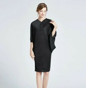 Black-Pleated-Kimono-Dress