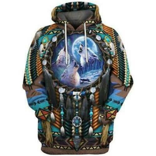 Indian Print 3D Sweatshirt Pullover Dress Hooded Men Sweater Casual Hoodie Shirt