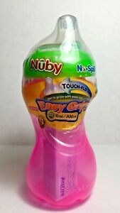 Nuby-No-Spill-Easy-Grip-Cup-Step-2-Pink-10-ounces-Touch-Flo-Valve-New-Sealed