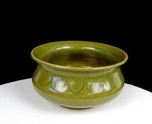 "ASIAN ART POTTERY OLIVE GREEN LEAF DESIGN WHEEL THROWN STONEWARE 5 1/2"" PLANTER"