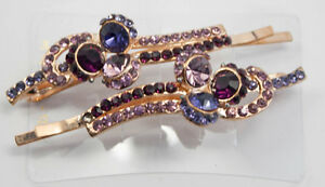 Hair-Pins-Light-Purple-Colored-Jeweled-Pair-NEW