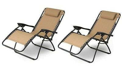 1 Pair tan Zero Gravity Lounge Chairs Recliner Outdoor Beach Patio Pool new