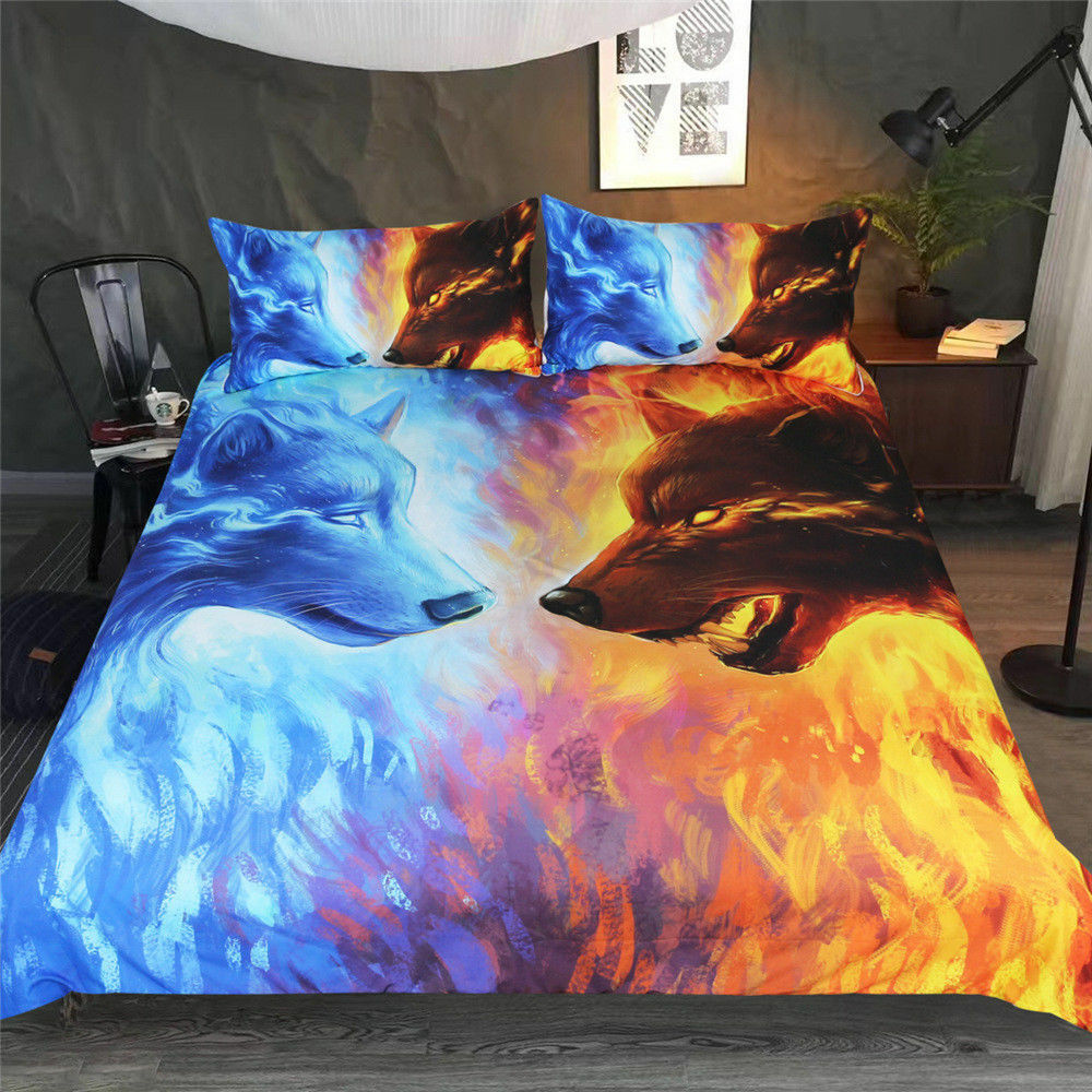 3D Fire and Ice Wolf Duvet Cover Bedding Set Pillow Case Comforter Quilts Cover