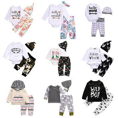3pcs Toddler Infant Newborn Baby Boy Girl T-shirt Tops+Pants Outfits Set Clothes