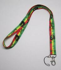 BOB MARLEY Marijuana Leaf LANYARD KEY CHAIN Ring Keychain ID Holder NEW