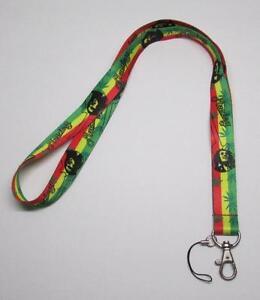 BOB-MARLEY-Marijuana-Leaf-LANYARD-KEY-CHAIN-Ring-Keychain-ID-Holder-NEW