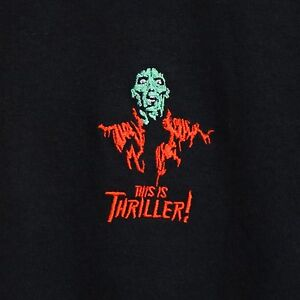 Image is loading Michael-Jackson-Thriller-Embroidered-Black-Tee-T-shirt- d876c4aea4458
