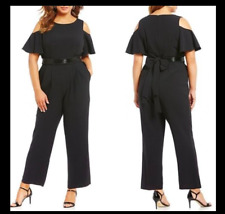 a86b550e804be Connected Plus Size 22w Blue Black Cold-shoulder Cape Jumpsuit 2388 ...