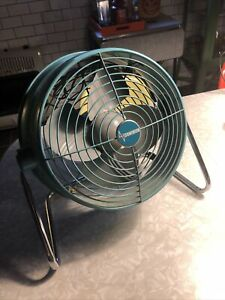 Vintage MCM Dominion industrial Fan Turquoise Aqua Blue Mid Century WORKS