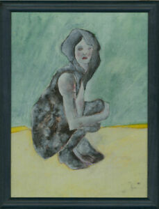 Ben-Carrivick-Signed-amp-Framed-Contemporary-Oil-Woman-Yellow-and-Green