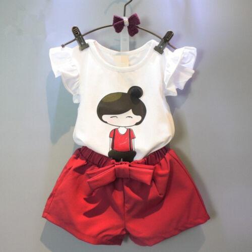 Toddler Kids Baby Girl Party Outfits Tops T-Shirt+Shorts Pants 2PCS Set Clothes