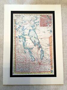 Antik-Karte-Druck-Manitoba-Kanada-Kanadische-Provinz-See-Winnipeg-Vintage-Kunst