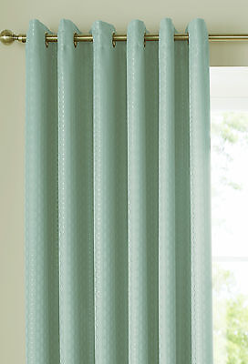 Eyelet Curtains Ready Made Lined Ring Top Heading. Solitaire Duck Egg