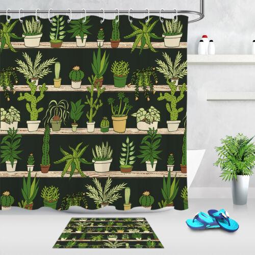 Tropical Cactus on Shelf Waterproof Fabric Shower Curtain Liner Bathroom Set