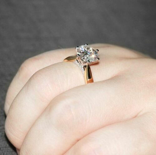 2Ct Round-Cut VVS1//D Diamond Solitaire Engagement Ring 14K Rose Gold Finish