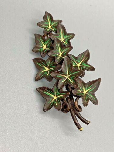 Art Nouveau Enamel Leaf Brooch