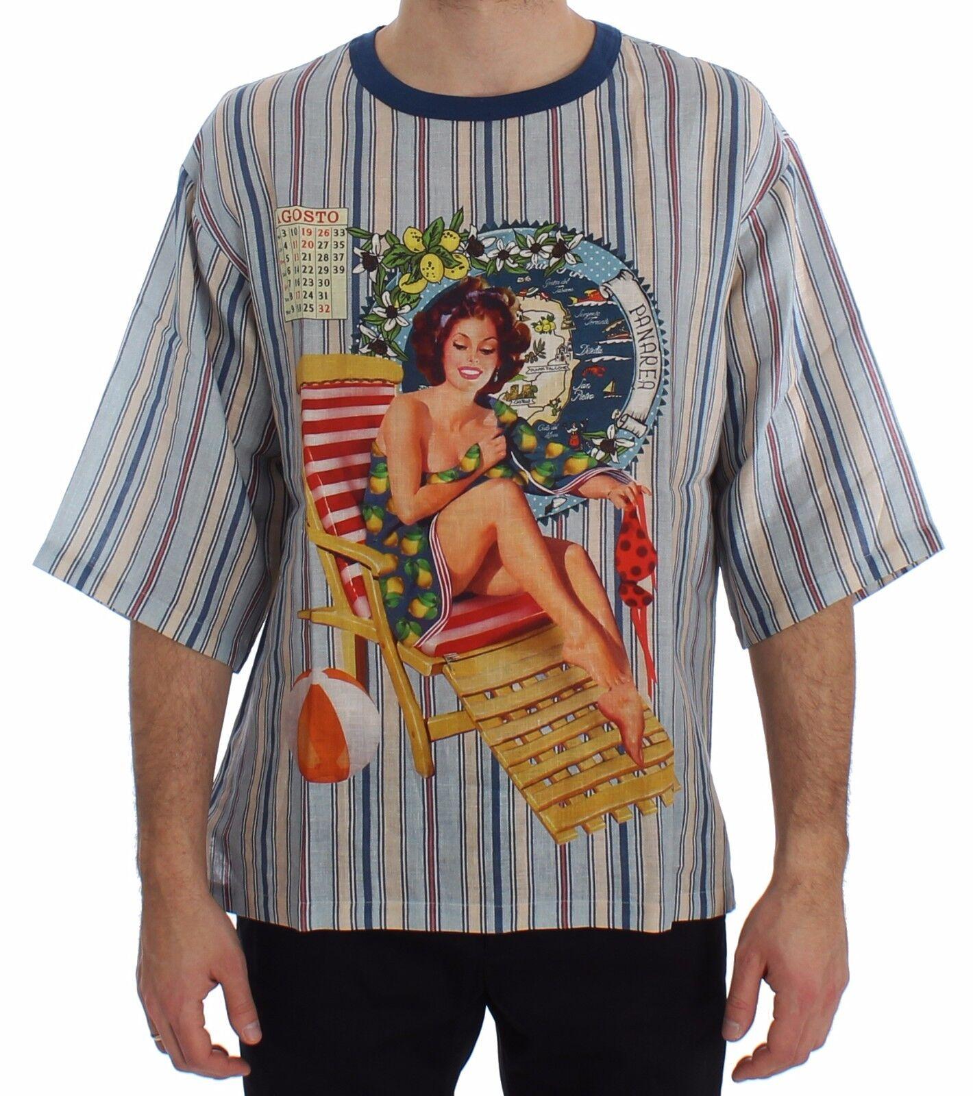 Nuovo Dolce & Gabbana T-Shirt collo Tondo Agosto Panarea Stampa Lino IT50/L