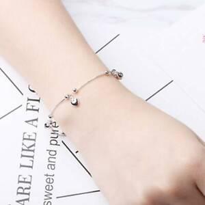 Women-Simple-Chic-Love-Heart-Bell-Pendant-Bangle-Bracelet-Chain-Bracelet-CB