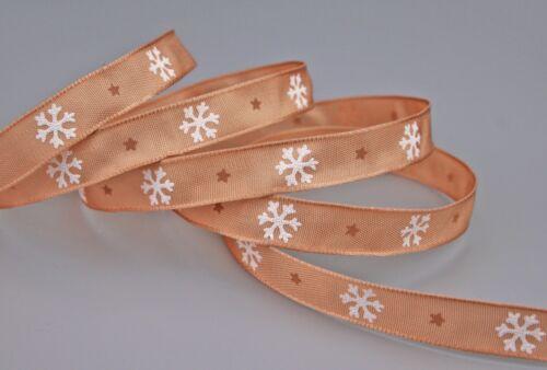 Geschenkband LET IT SNOW 3 m x 15 mm Weihnachten  mit Draht Schneeflocken