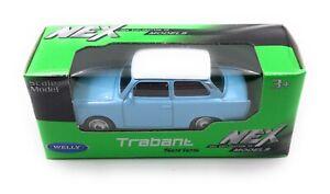 Trabi-Trabant-Rda-Vehicule-Bleu-Emballage-D-039-Origine-Modele-Auto-Masstab-1-60