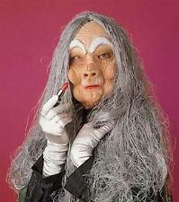 Old Woman Face Mask With Hair Halloween Witch Fancy Dress