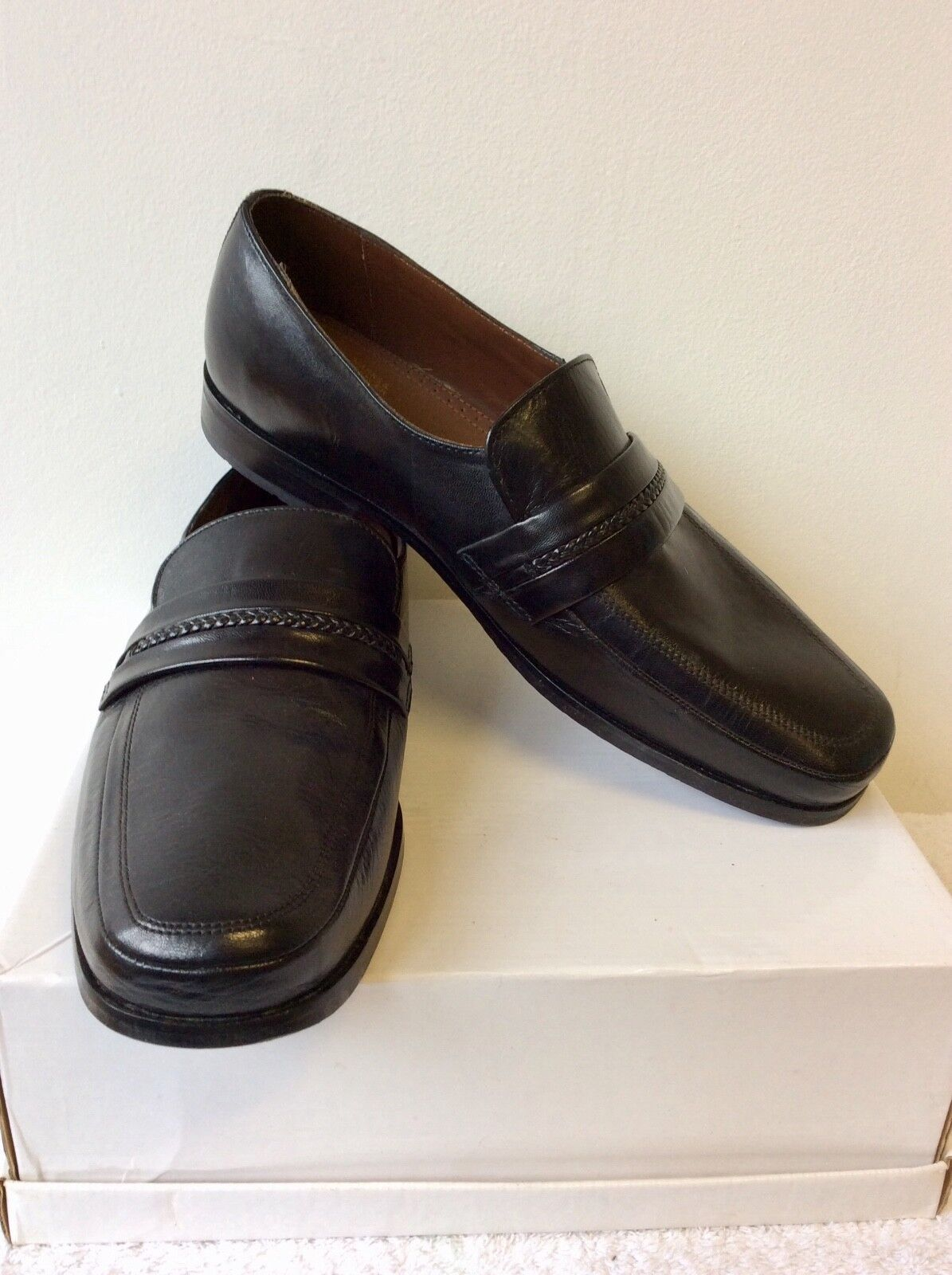 NEW SLIP MARKS & SPENCER COLLEZIONE schwarz LEATHER SLIP NEW ON schuhe 9.5 43.5 EX WIDE FIT 6bf2a2
