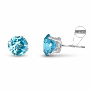Solid-14K-White-Gold-Round-Genuine-Sky-Blue-Topaz-March-Stud-Earrings-2mm-8mm
