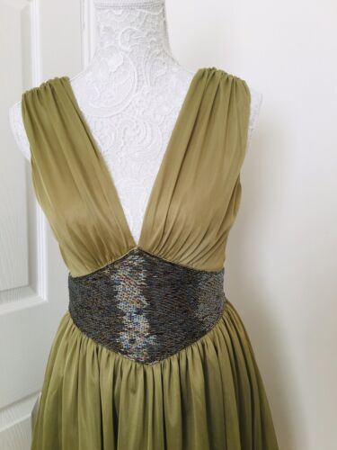 perline Khaki drappeggiato Topshop Dress 6 Bnwt 38 Green 10 Kate Moss Grecian Taglia paBwRq7